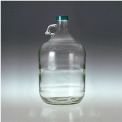 Clear Glass Jugs, 4 liter with 38-400 Green Thermoset F217 & PTFE Lined Cap, case/4