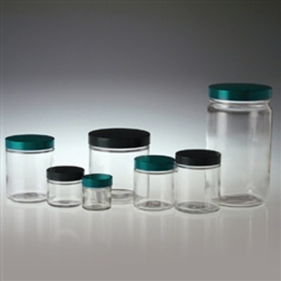 Clear Glass Jar, 1 oz, Black Vinyl Lined Cap, case/48