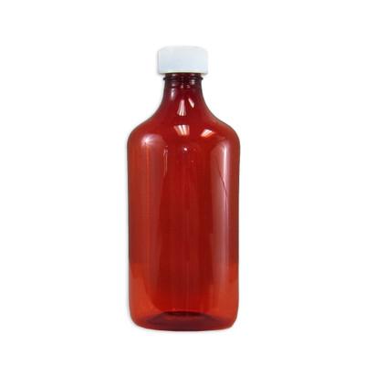 Amber Oval Pharmacy Bottles, Child Resistant Caps, 16 oz, case/50