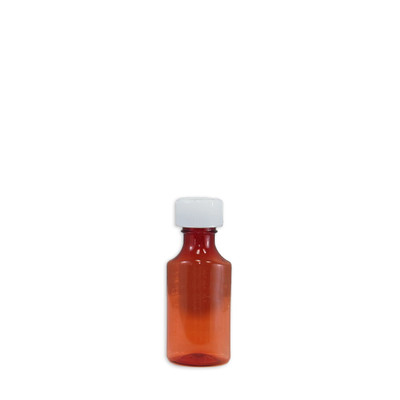 Amber Oval Pharmacy Bottles, Child Resistant Caps, 2 oz (60mL), case/200