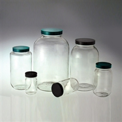 Clear Wide Mouth Bottles, 4 oz, Green PTFE Lined Caps, case/24
