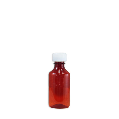 Amber Oval Pharmacy Bottles, Child Resistant Caps, 3 oz, case/200