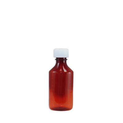 Amber Oval Pharmacy Bottles, Child Resistant Cap, 4 oz, case/200