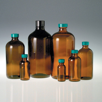 32 oz Amber Glass Boston Round Bottles, 33-400 Green Thermoset F217 PTFE Lined Caps, case/12