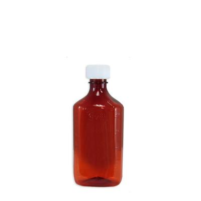 Amber Oval Pharmacy Bottles, Child Resistant Caps, 8 oz, case/100
