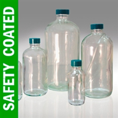 Safety Coated Boston Round Bottles, 32 oz, Green PTFE Lined Caps, case/12