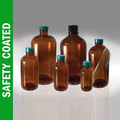 Safety Coated Amber Bottles, 4 oz, Green PTFE Lined Caps, case/24