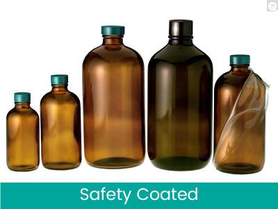 Safety Coated Amber Bottle, 16 oz, Green PTFE Lined Cap, case/12
