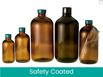 Safety Coated Amber Bottles, 32 oz, Green PTFE Lined Caps, case/12