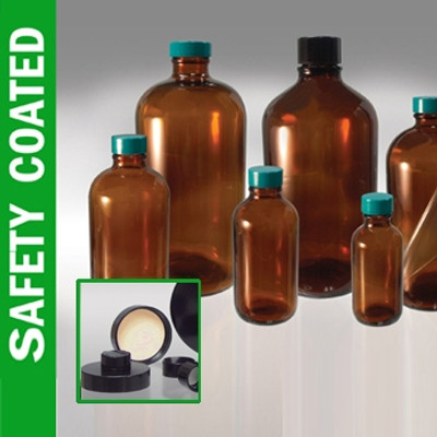 Safety Coated Amber Bottles, 32 oz with Black Phenolic Rubber Lined Caps, case/12