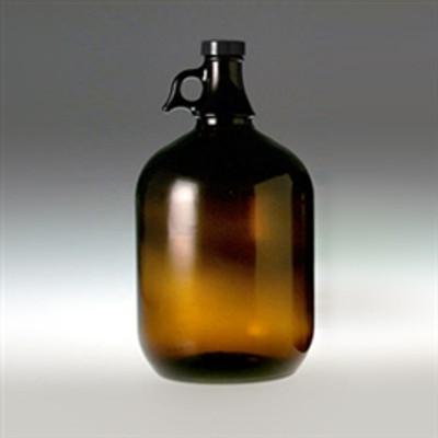 Amber Glass Jugs, 4 Liter (128 oz) Black Cap, PTFE Disc, case/6