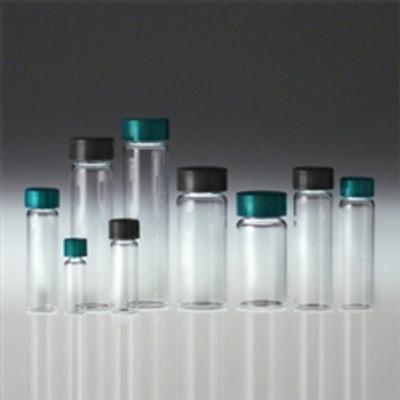 Clear Borosilicate Glass Vials, 22mL, 14B Rubber Lined Caps, case/144
