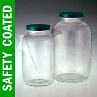 Safety Coated Wide Mouth Glass Jar, 128 oz, PTFE Lined Cap, case/4