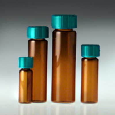Amber Glass Vials, 15mL with Green Thermoset F217 & PTFE Lined Cap, case/144
