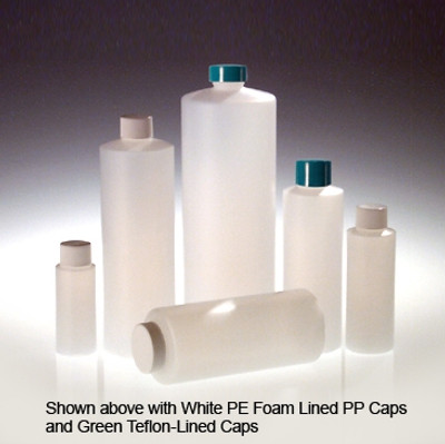 32 oz Cylinder Bottles, HDPE with 28-400 White Foam Lined Caps, case/12