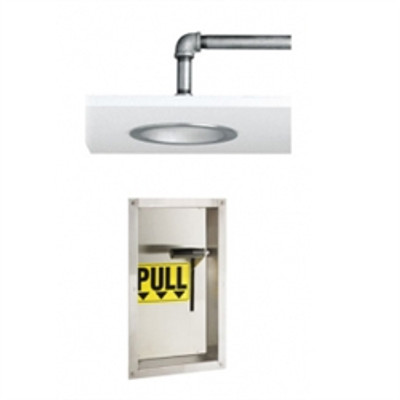 """Safety Shower with 10"""" flush showerhead, Recessed Wall Mount Activator"""