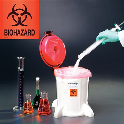Bench Top Biohazard Waste Container, 5 Liter
