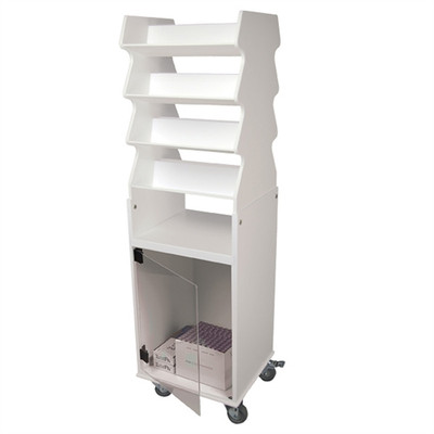 """Rolling Tall Suture Cart with Bulk Storage Cabinet, PVC, 3"""" Casters, 19"""" x 57"""" x 17"""""""