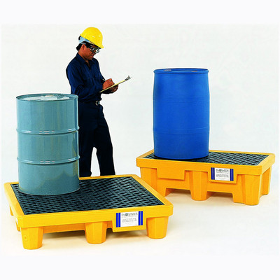 Drum Spill Pallet with Drain, Yellow, 2-Drum