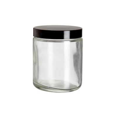 WHEATON® Safety Coated Clear WM Glass Jars, 8 oz, Black Phenolic Vinyl Lined Caps, case/12