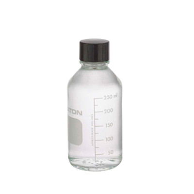 WHEATON® 250mL Media Bottles, Borosilicate Glass, Poly Lined Caps, case/48