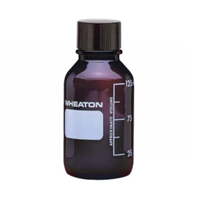 WHEATON® 125mL Media Bottle, Amber Borosilicate Glass, Rubber Lined Cap, case/48