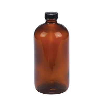 WHEATON® 32 oz Safety Coated Amber Glass Bottle, PTFE Liner, case/12