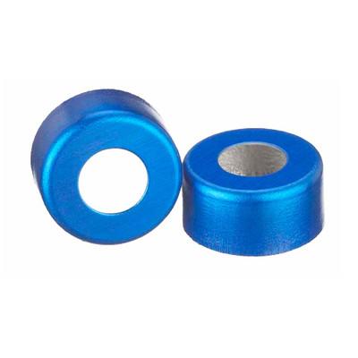 WHEATON® 11mm Crimp Seal Open Top Hole Caps, Aluminum Blue, Unlined, case/1000