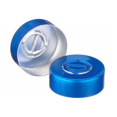 WHEATON® 20mm Crimp Seal, Center Tear-Out, Aluminum Blue, Unlined, case/1000