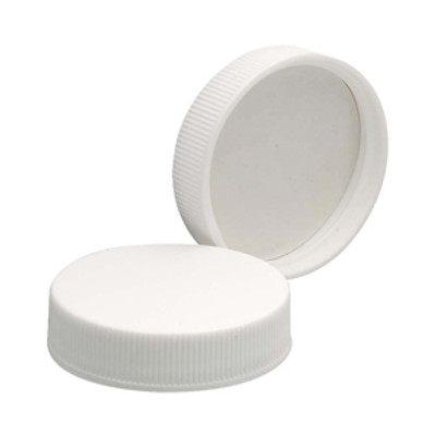 WHEATON® 43-400 PP Caps, White, PTFE Faced/Foamed Poly Liner, case/72