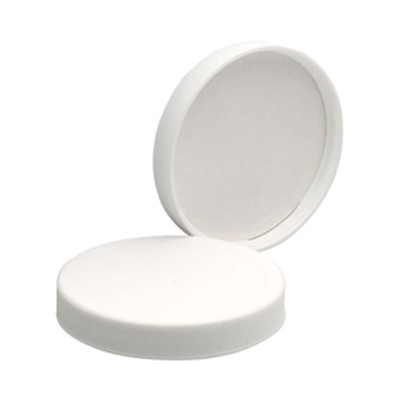 WHEATON® 70-400 PP Caps, White, PTFE Faced/Foamed Poly Liner, case/48