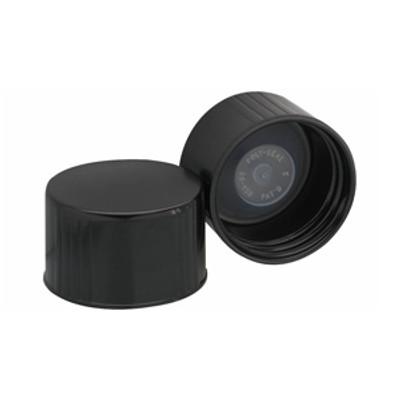 WHEATON® 38-430 Black Phenolic Caps, Leakproof Cone-Shaped Insert, case/100