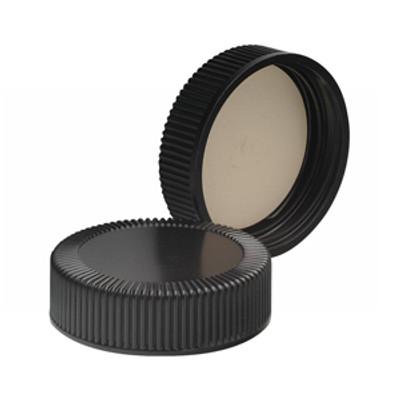 WHEATON® 38-400 Black Phenolic Caps, White Rubber Liner, case/ 200