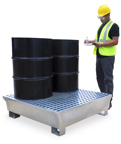 Ultra Steel Spill Pallet, 4-Drum, 68 gal sump, 14 gauge P4