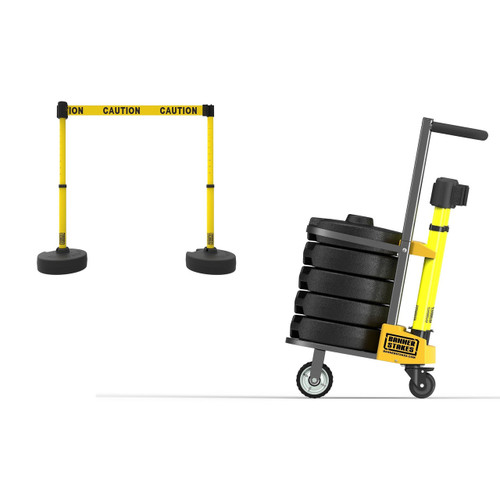 Safety Barrier Cart, 5 Stanchions, 75' Belt Barrier