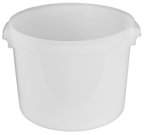 32 Quart Round Lab Storage Containers for Solids, Natural HDPE, case/6