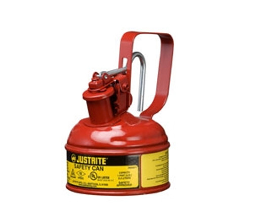 Justrite Type I Steel Safety Can w/Trigger-handle for Flammables, 1 Pint, Red