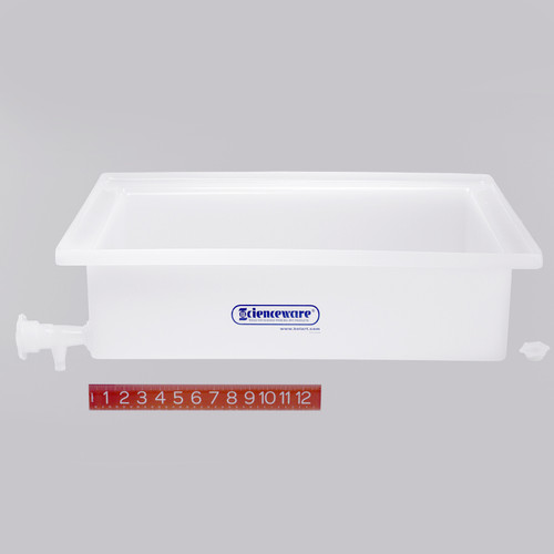 "Lab Tray with Faucet, Rugged LDPE, 17.5"" x 23.5"" x 6"""