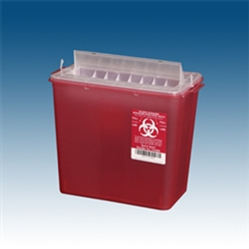 Sharps Containers, 5 qt. Red, Horizontal Entry, case/20 for use w/ PP-143002