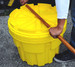 Lid can be tightened using built-in broom handle or wooden beam (2x4) slots (20 and 30 gallon)