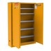 FM Approved, Flammable Storage Cabinet, 30 Gallon Paint, Ink Storage, 2 Doors, Self Close, 5 Shelves, Safety Yellow