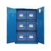 3 poly acid cabinets shown nested in a Securall 45-gallon acid cabinet