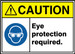 "ANSI ISO Safety Sign - CAUTION: Eye Protection Required., 10"" x 14"", Pack/10"