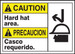 """Bilingual ANSI Caution Visual Alert Safety Sign: Hard Hat Area, 10"""" x 14"""", Pack/10"""