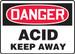 "OSHA Safety Sign - DANGER: Acid - Keep Away, 10"" x 14"", Pack/10"