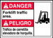 "Bilingual ANSI Safety Sign - DANGER: Forklift Traffic Area, 10"" x 14"", Pack/10"