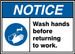 """ANSI ISO Safety Sign - NOTICE: Wash Hands Before Returning To Work., 10"""" x 14"""", Pack/10"""