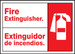 """Bilingual ANSI Safety Sign: Fire Extinguisher, 10"""" x 14"""", Pack/10"""