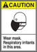 """ANSI Safety Sign - CAUTION: Wear Mask - Respiratory Irritants In This Area, 14"""" x 10"""", Pack/10"""