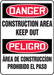 "Bilingual OSHA Safety Sign - DANGER: Construction Area - Keep Out, 14"" x 10"", Pack/10"